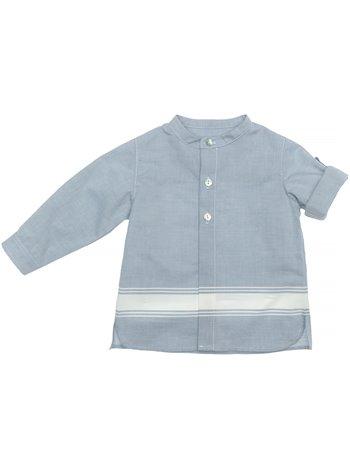 Chemise à col mao  bleu anglais