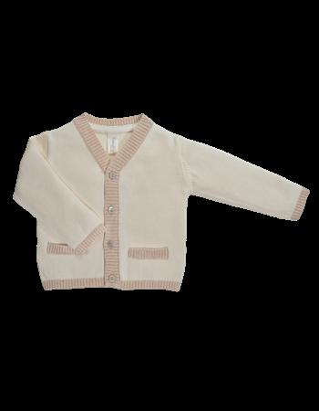 Casaco em tricot decote V c/detalhes bege