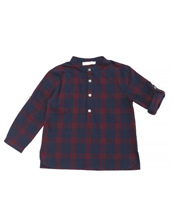 Chic chemise col mao carreaux rouge