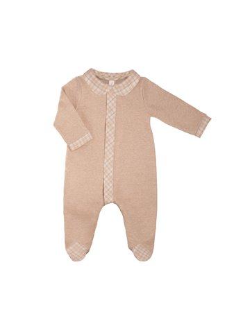 Babygrow en maille beige et détail en flanelle à carreaux